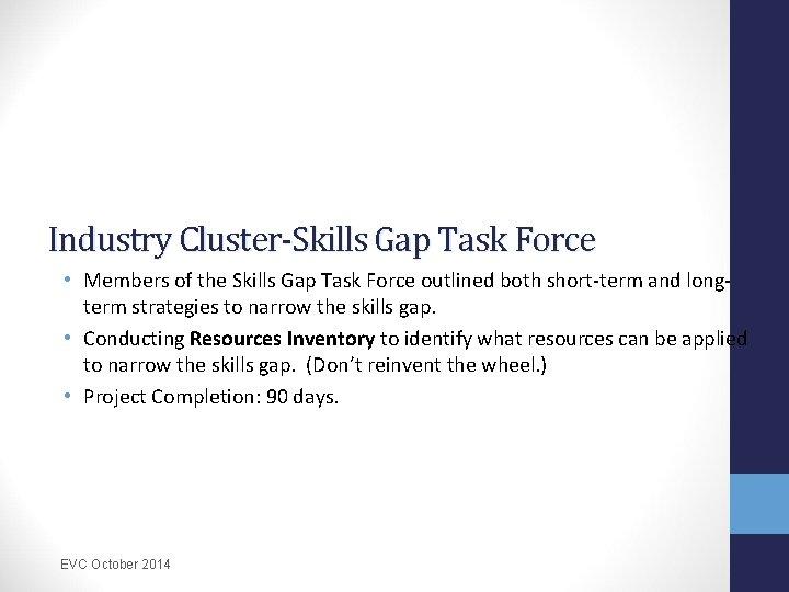 Industry Cluster-Skills Gap Task Force • Members of the Skills Gap Task Force outlined