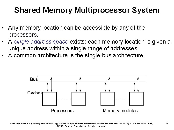 Shared Memory Multiprocessor System • Any memory location can be accessible by any of