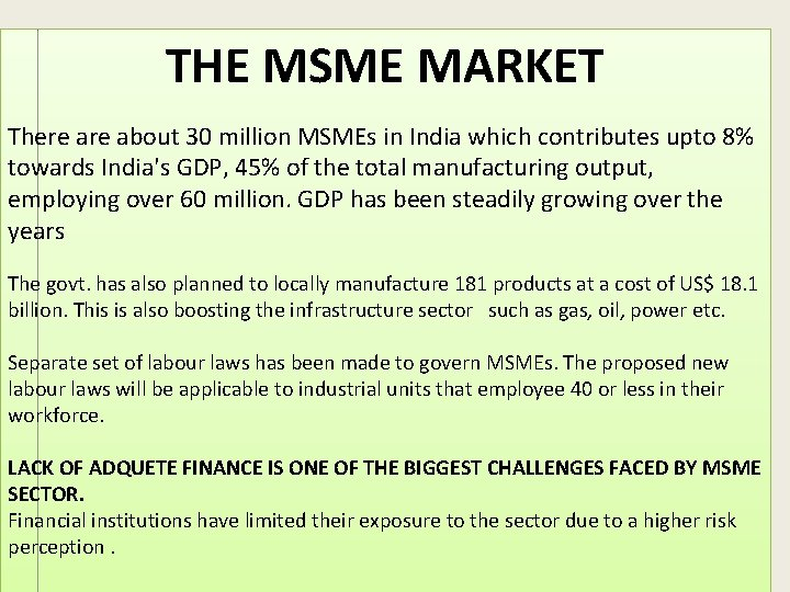 THE MSME MARKET There about 30 million MSMEs in India which contributes upto 8%