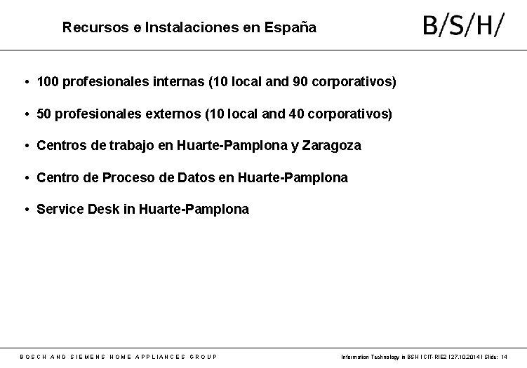 Recursos e Instalaciones en España • 100 profesionales internas (10 local and 90 corporativos)