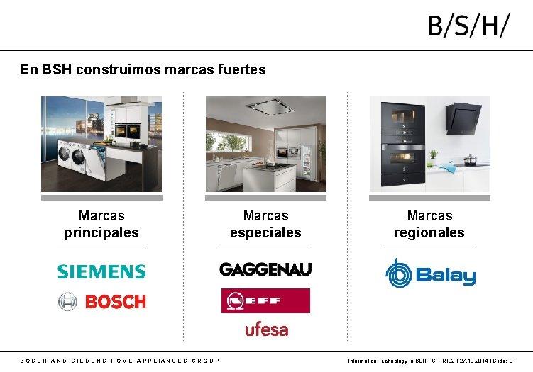 En BSH construimos marcas fuertes Marcas principales B O S C H A N