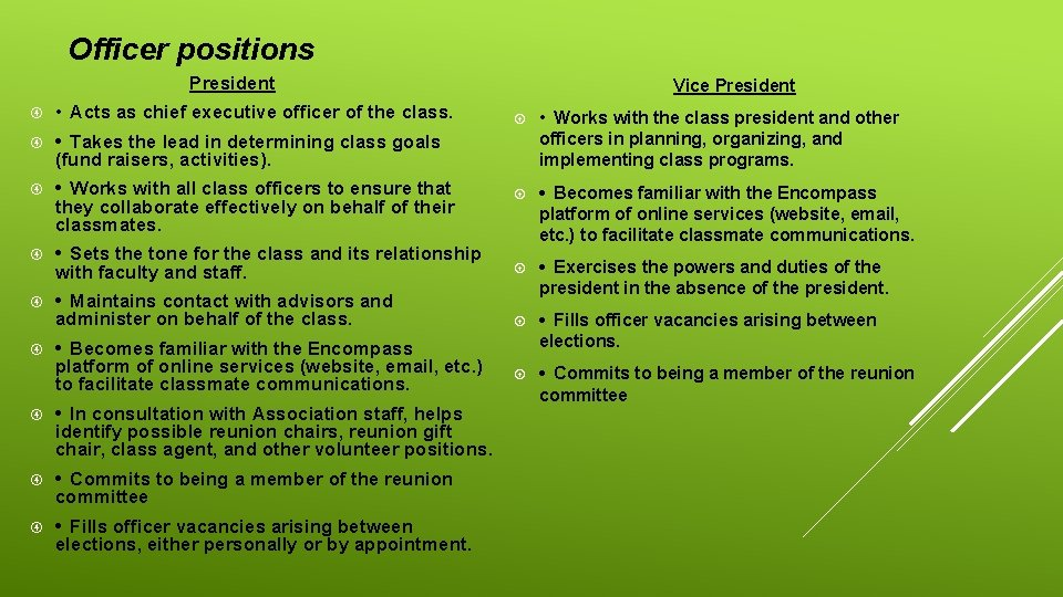 Officer positions President • Acts as chief executive officer of the class. • Takes