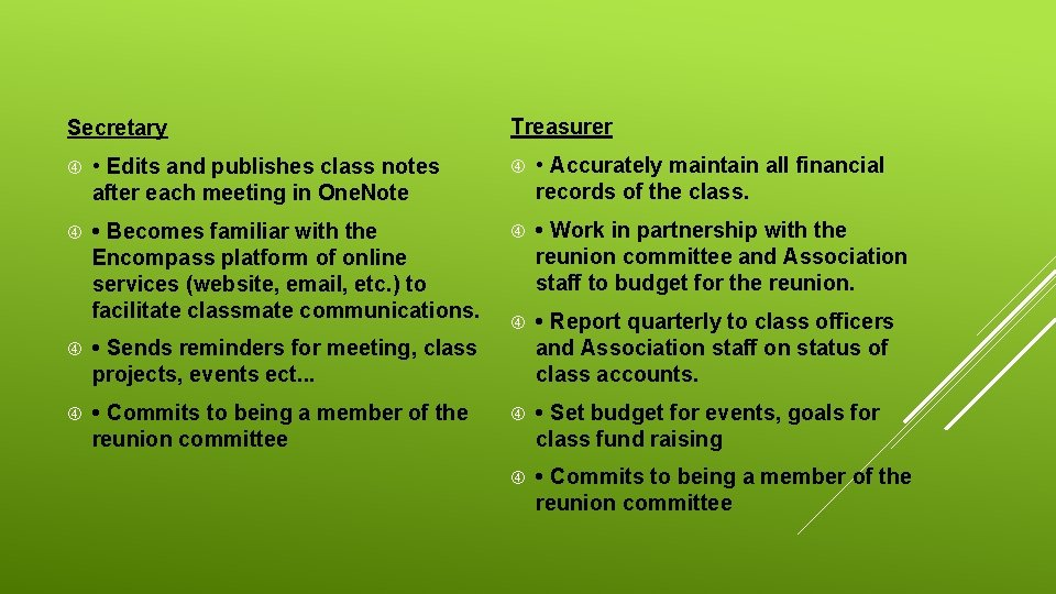 Secretary Treasurer • Edits and publishes class notes after each meeting in One. Note