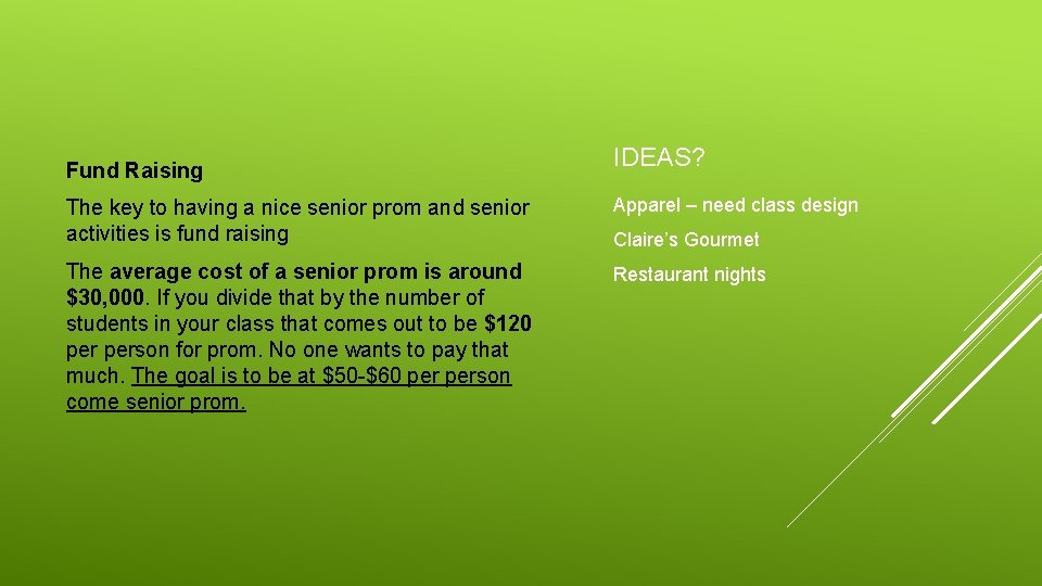 Fund Raising IDEAS? The key to having a nice senior prom and senior activities