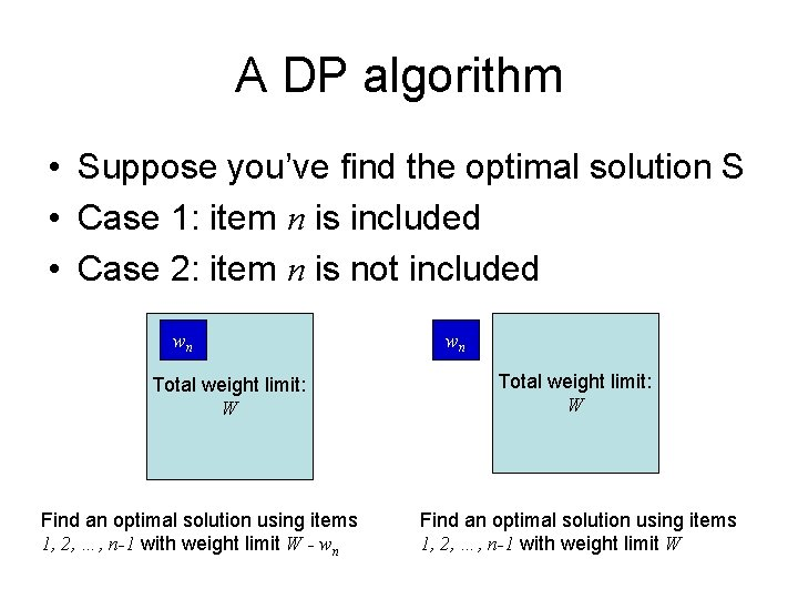 A DP algorithm • Suppose you've find the optimal solution S • Case 1: