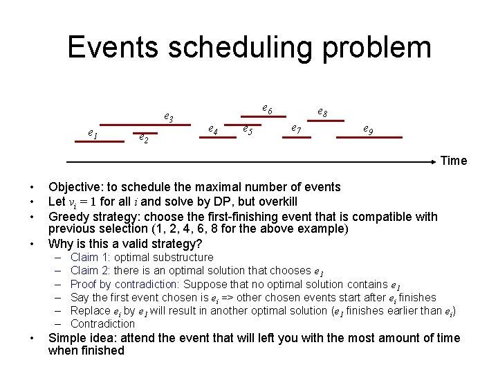 Events scheduling problem e 3 e 1 e 2 e 6 e 4 e