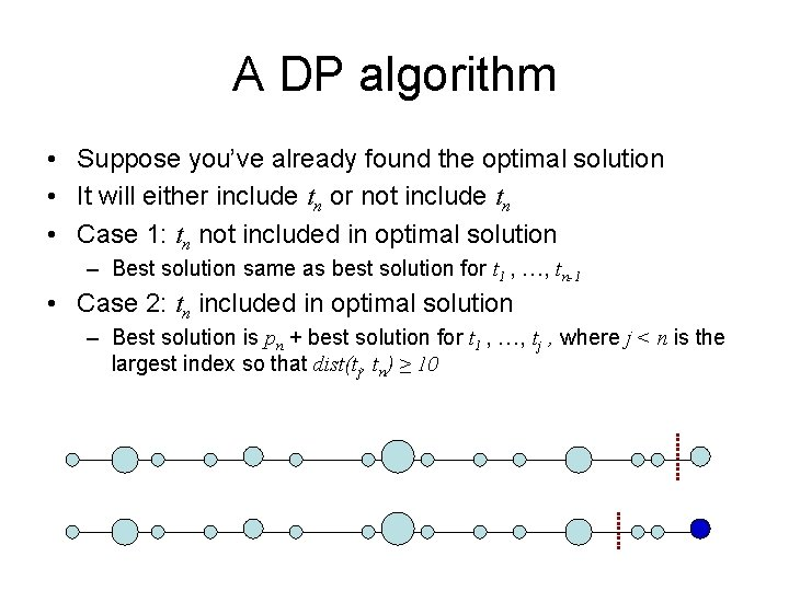 A DP algorithm • Suppose you've already found the optimal solution • It will