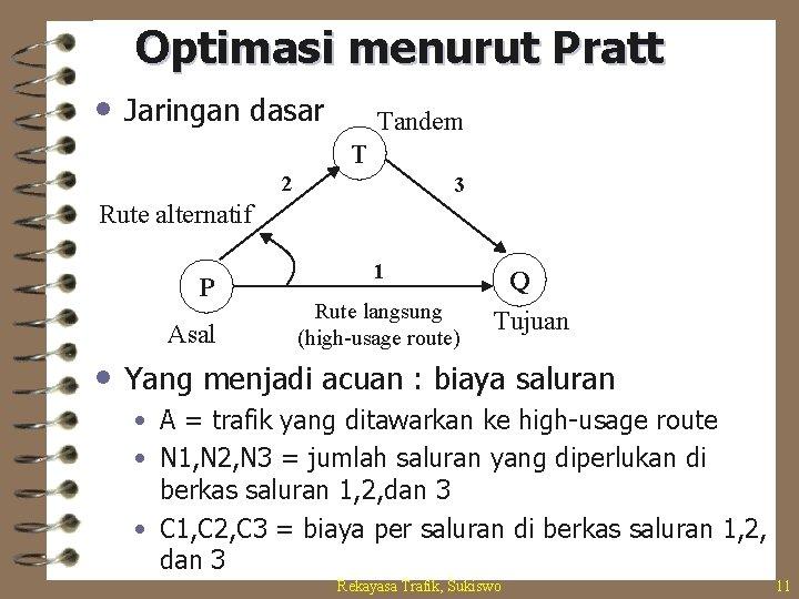Optimasi menurut Pratt • Jaringan dasar Tandem T 2 3 Rute alternatif P Asal