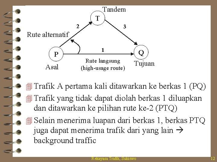 Tandem T 2 3 Rute alternatif P Asal 1 Rute langsung (high-usage route) Q