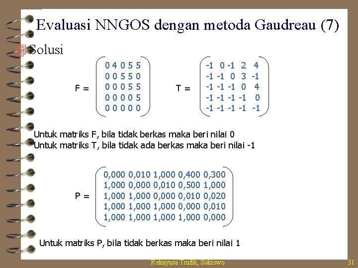 Evaluasi NNGOS dengan metoda Gaudreau (7) 4 Solusi F= 0 0 0 4 0