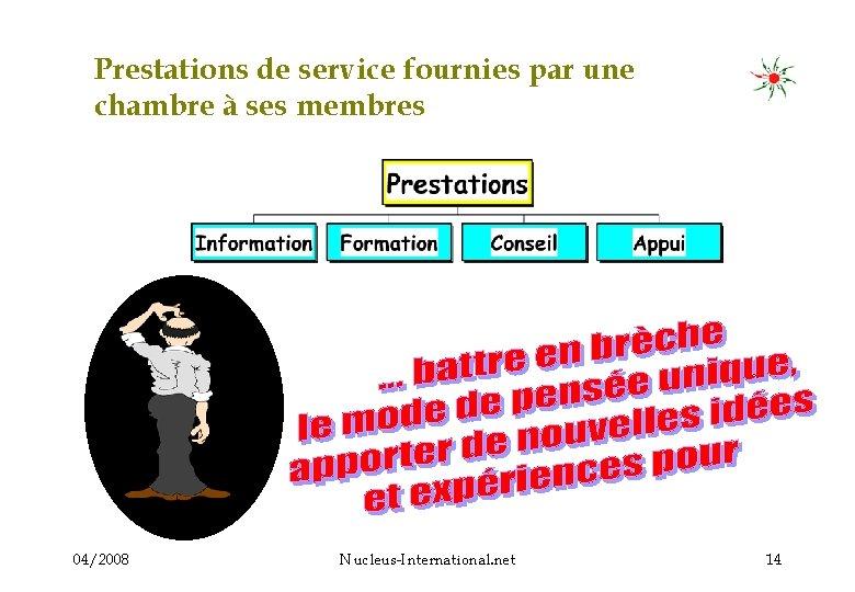 Prestations de service fournies par une chambre à ses membres 04/2008 Nucleus-International. net 14
