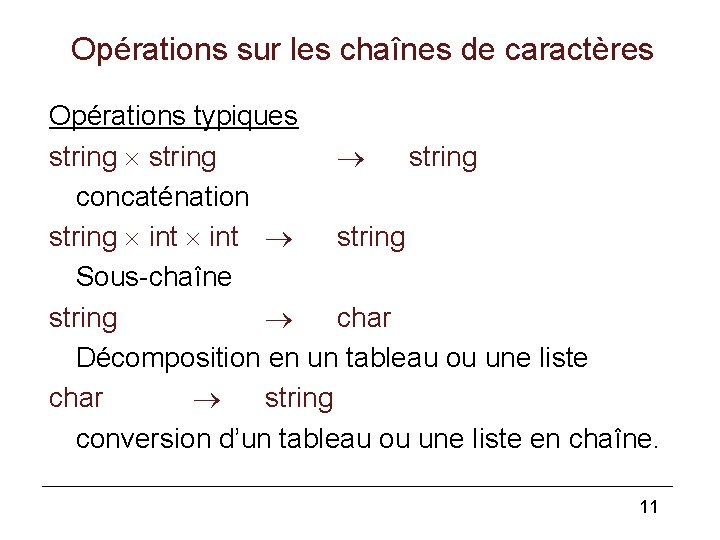 Opérations sur les chaînes de caractères Opérations typiques string concaténation string int string Sous-chaîne