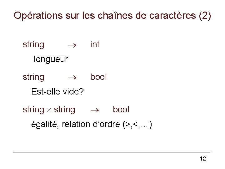 Opérations sur les chaînes de caractères (2) string int longueur string bool Est-elle vide?