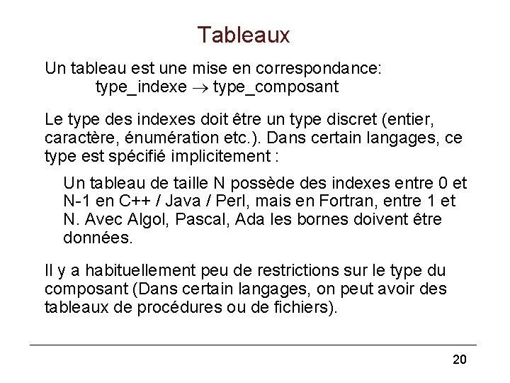 Tableaux Un tableau est une mise en correspondance: type_indexe type_composant Le type des indexes