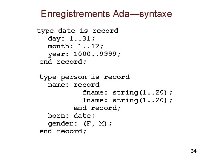 Enregistrements Ada—syntaxe type date is record day: 1. . 31; month: 1. . 12;