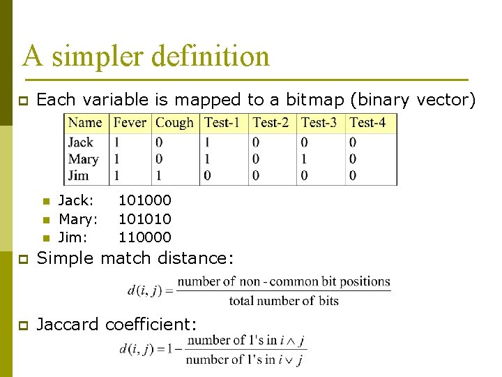 A simpler definition p Each variable is mapped to a bitmap (binary vector) n