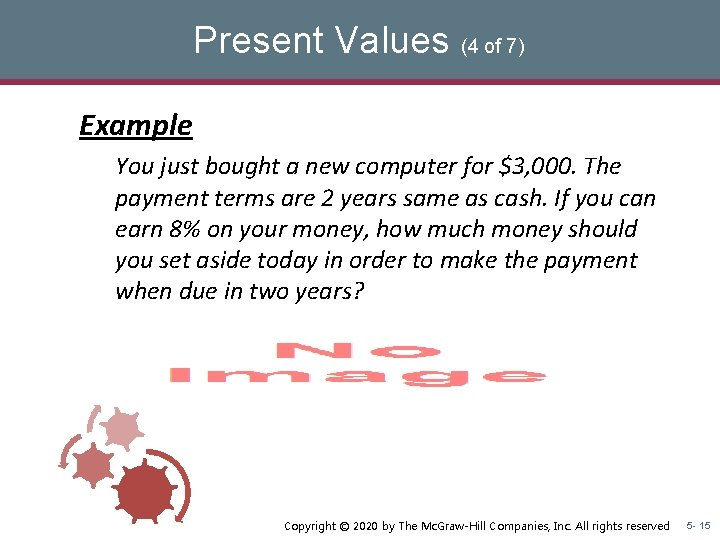 Present Values (4 of 7) Example You just bought a new computer for $3,