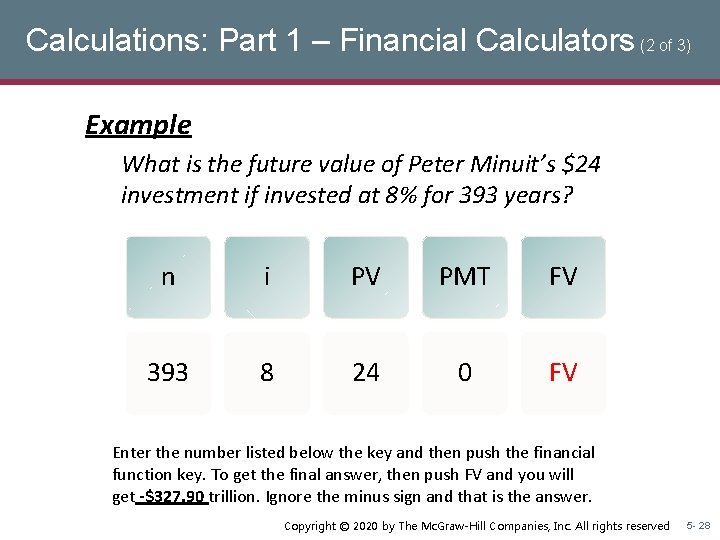 Calculations: Part 1 – Financial Calculators (2 of 3) Example What is the future
