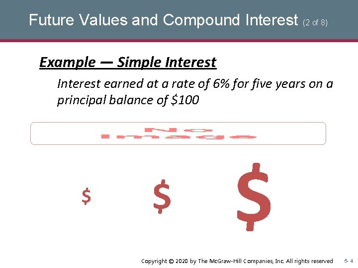 Future Values and Compound Interest (2 of 8) Example — Simple Interest earned at