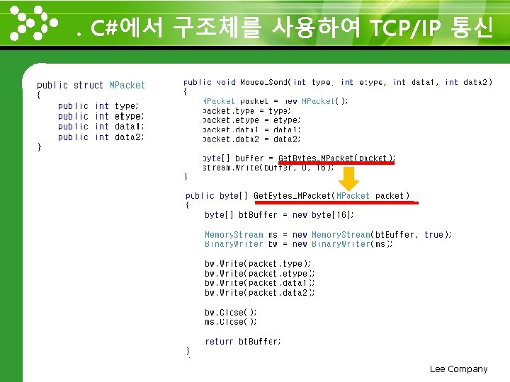 . C#에서 구조체를 사용하여 TCP/IP 통신 www. themegallery. com Lee Company