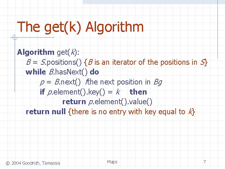 The get(k) Algorithm get(k): B = S. positions() {B is an iterator of the
