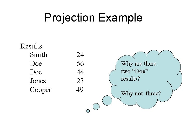 Projection Example Results Smith Doe Jones Cooper 24 56 44 23 49 Why are