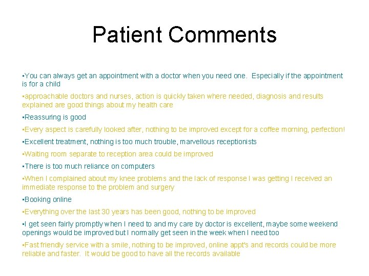 Patient Comments • You can always get an appointment with a doctor when you