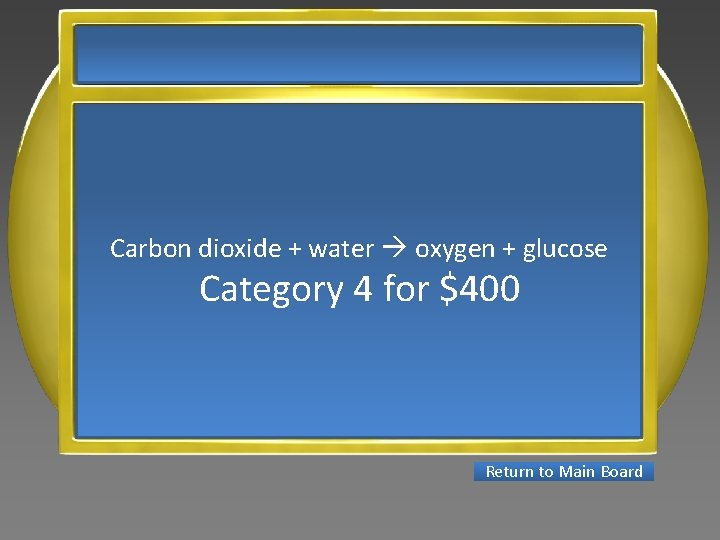 Carbon dioxide + water oxygen + glucose Category 4 for $400 Return to Main