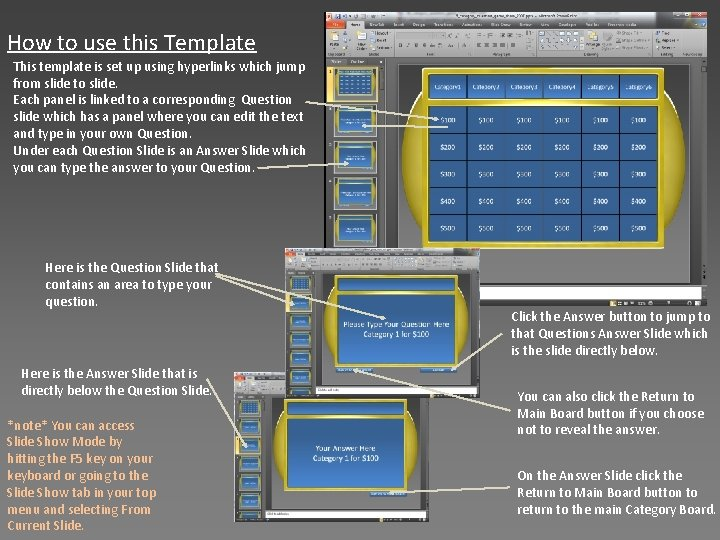 How to use this Template This template is set up using hyperlinks which jump