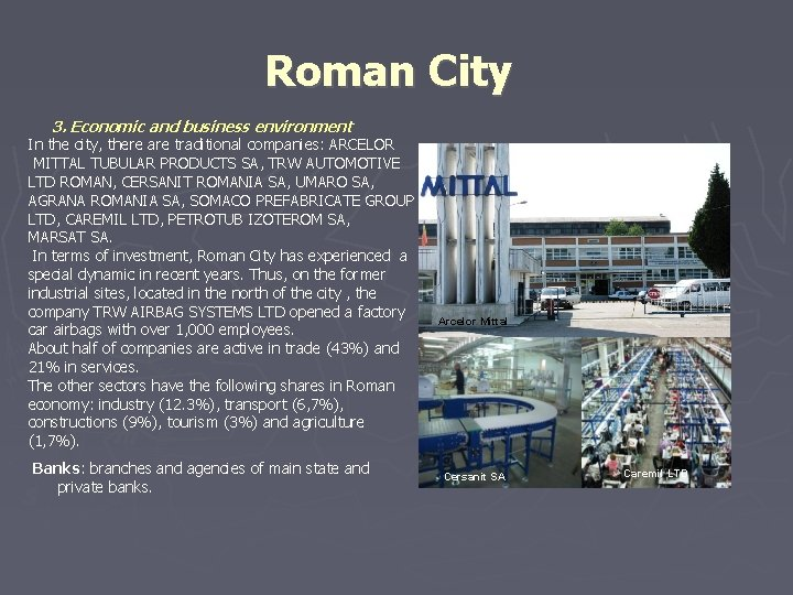 Roman City 3. Economic and business environment In the city, there are traditional companies: