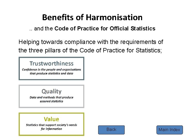 Benefits of Harmonisation. . and the Code of Practice for Official Statistics Helping towards
