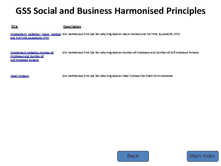 GSS Social and Business Harmonised Principles Title Description Employment Variables: Hours Worked GSS Harmonised