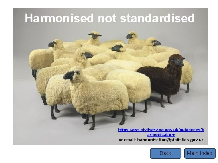 Harmonised not standardised https: //gss. civilservice. gov. uk/guidances/h armonisation/ or email: harmonisation@statistics. gov. uk
