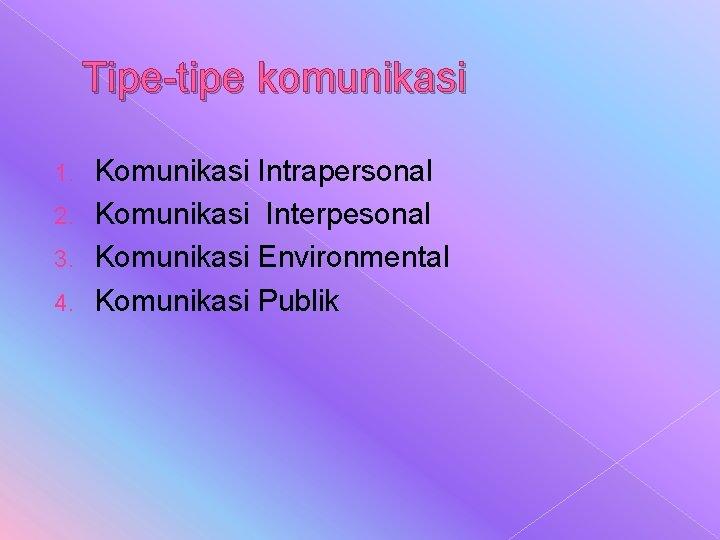 Tipe-tipe komunikasi Komunikasi Intrapersonal 2. Komunikasi Interpesonal 3. Komunikasi Environmental 4. Komunikasi Publik 1.