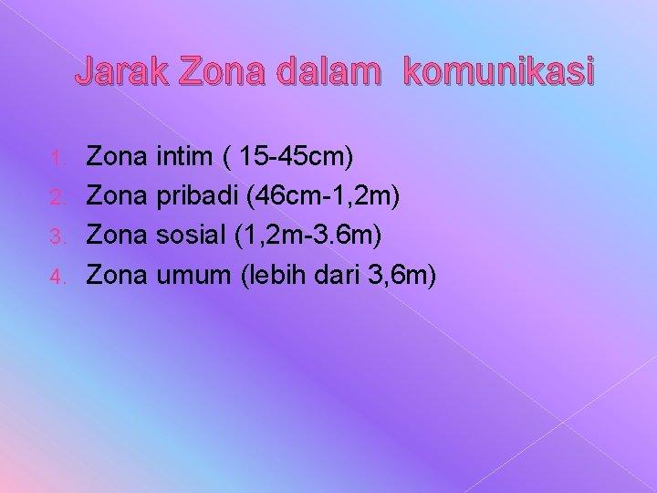 Jarak Zona dalam komunikasi Zona intim ( 15 -45 cm) 2. Zona pribadi (46