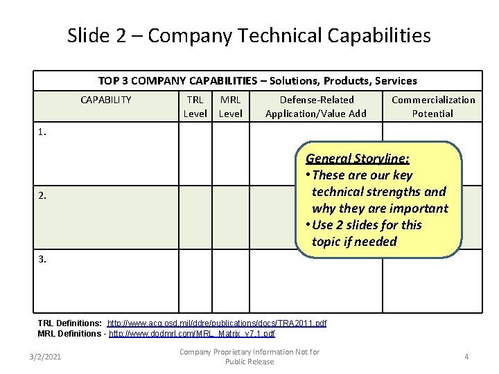 Slide 2 – Company Technical Capabilities TOP 3 COMPANY CAPABILITIES – Solutions, Products, Services