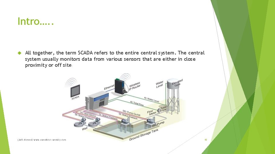 Intro…. . All together, the term SCADA refers to the entire central system. The