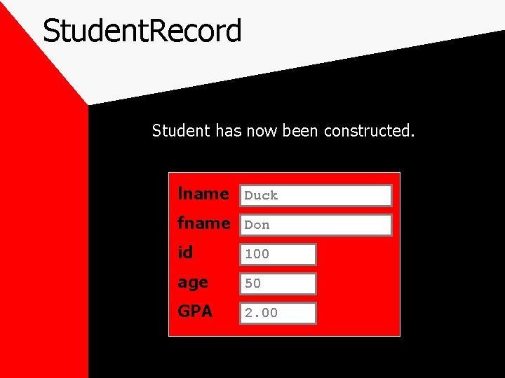 Student. Record Student has now been constructed. lname Duck fname Don id 100 age