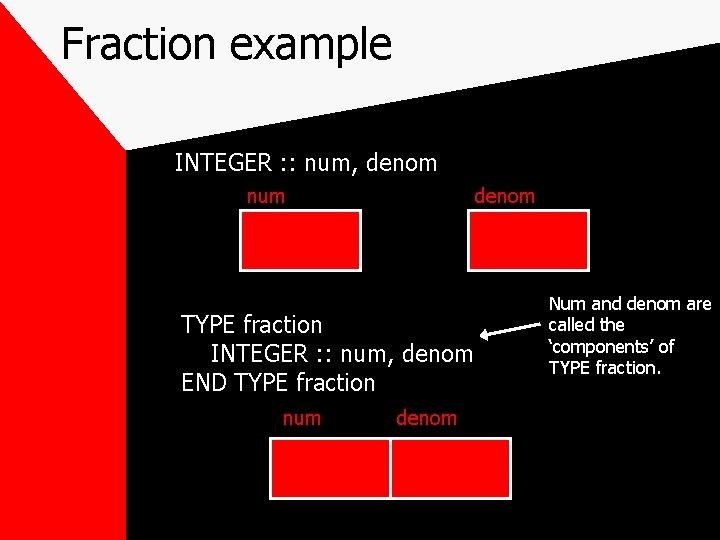 Fraction example INTEGER : : num, denom num denom TYPE fraction INTEGER : :