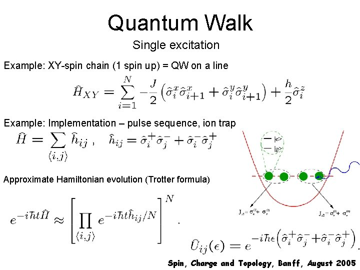 Quantum Walk Single excitation Example: XY-spin chain (1 spin up) = QW on a