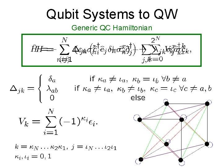 Qubit Systems to QW Generic QC Hamiltonian