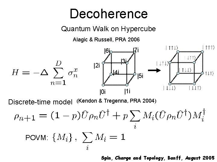 Decoherence Quantum Walk on Hypercube Alagic & Russell, PRA 2006 |7 i |6 i