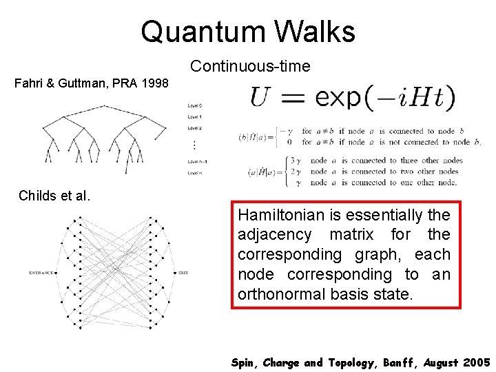 Quantum Walks Continuous-time Fahri & Guttman, PRA 1998 Childs et al. Hamiltonian is essentially
