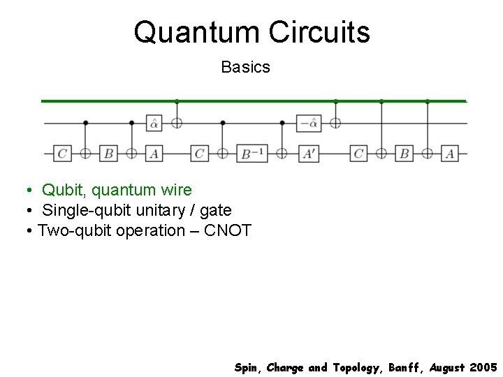 Quantum Circuits Basics • Qubit, quantum wire • Single-qubit unitary / gate • Two-qubit