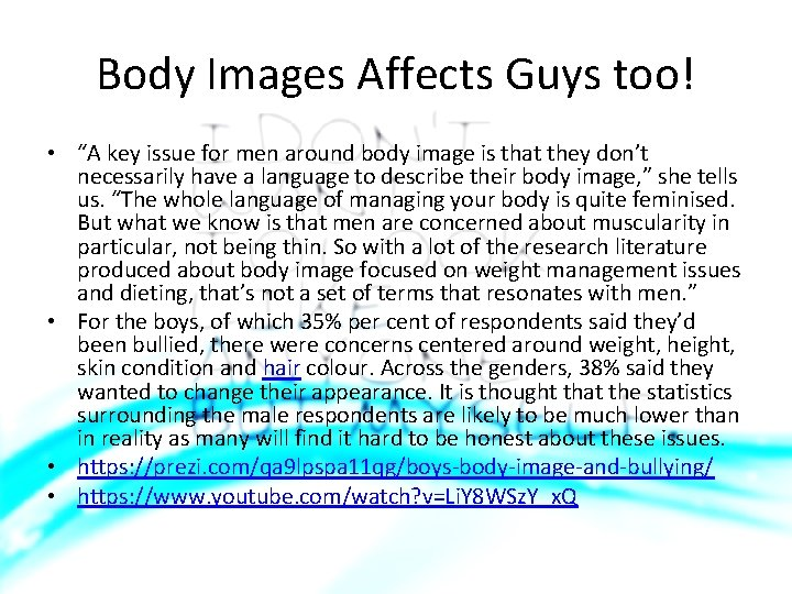 """Body Images Affects Guys too! • """"A key issue for men around body image"""