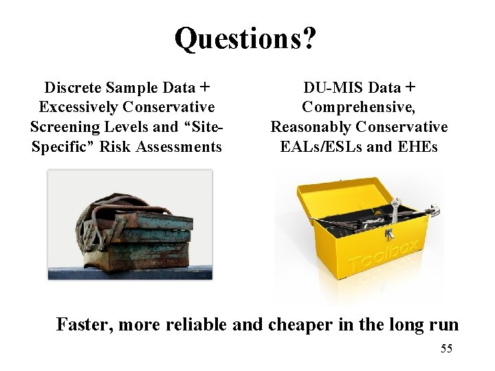 """Questions? Discrete Sample Data + Excessively Conservative Screening Levels and """"Site. Specific"""" Risk Assessments"""
