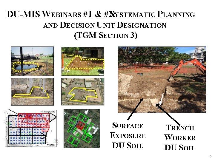 DU-MIS WEBINARS #1 & #2: SYSTEMATIC PLANNING AND DECISION UNIT DESIGNATION (TGM SECTION 3)