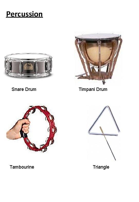 Percussion Snare Drum Tambourine Timpani Drum Triangle