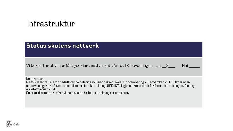 Infrastruktur Status skolens nettverk Vi bekrefter at vi har fått godkjent nettverket vårt av