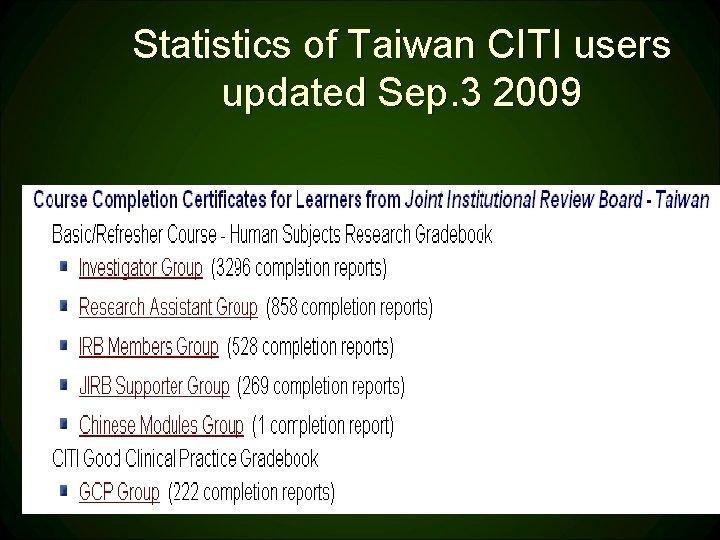Statistics of Taiwan CITI users updated Sep. 3 2009